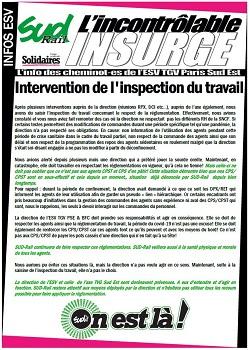 ESV TGV : Intervention de l'inspection du travail