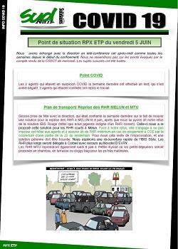 Covid 19 : Point de situation RPX ETP du vendredi 5 JUIN