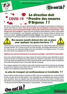 Fret : Covid-19, la direction doit prendre des mesures d'urgence !