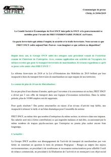 CSE Fret : Communiqué de presse
