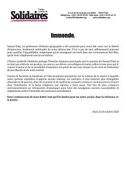 """Communiqué Solidaires : """"Immonde"""""""