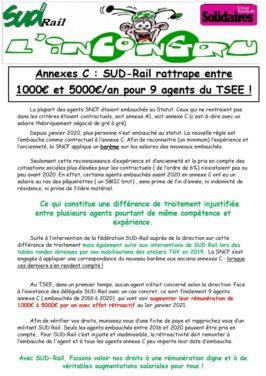 SUD-Rail ratrappe entre 1000 et 5000€ pour 9 agents du TSEE !
