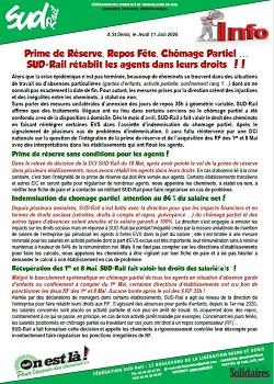 Prime de Réserve, Repos Fête, Chômage Partiel … SUD-Rail rétablit les agents dans leurs droits !