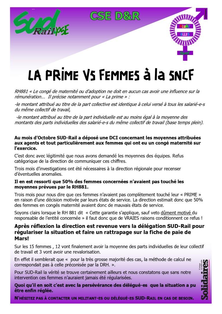 """""""La prime"""" VS les femmes à la SNCF"""