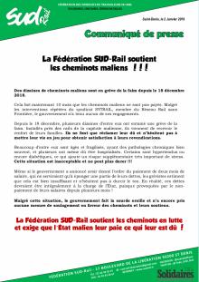 SUD-Rail soutient les cheminots maliens !