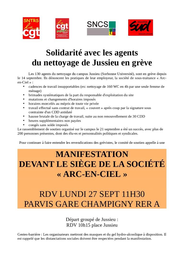 Solidarité avec les agents du nettoyage de Jussieu en grève : Rassemblement devant ke siège de la société Arc-en-ciel