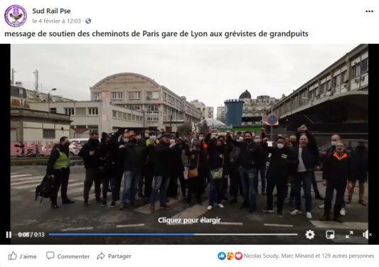 Message de soutien des cheminots de Paris-Sud-Est aux grévistes de grandpuit