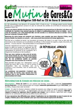 """Le mutin de Gares&Co : CSE extra """"COVID"""" du 20-11"""