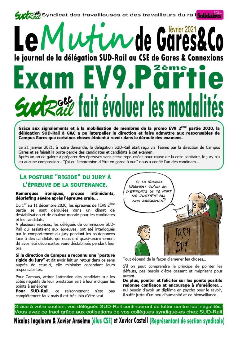 "Examen ""EV9"" : Sud-RAIL G&C fait évoluer les modalités"