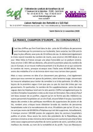 Note Reconfinée N°2 : La France, championne d'Europe… Du coronavirus !