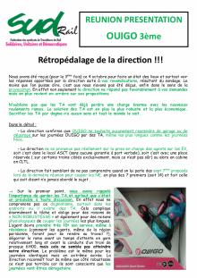 OUIGO : Rétropédalage de la Direction