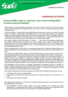 Florence PARLY dans la « short list » pour la futur holding SNCF