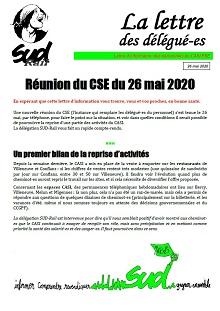 CASI PSE : Lettre d'infos du 26 mai 2020