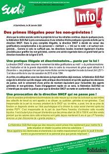Des primes illégales pour les non-grévistes !
