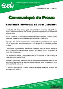 Libération immédiate de Gaël Quirante !