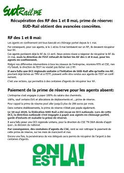 Récupération des RF des 1 et 8 mai, prime de réserve: SUD-Rail obtient des avancées concrètes.