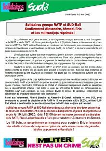 Solidaires groupe RATP et SUD-Rail soutiennent Alexandre, Ahmed, Eric et les militant(e)s réprimés !