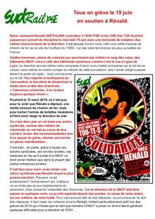 Tous en grève le 19 juin en soutien à Rénald.