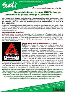 Un suicide devant le siège SNCF le jour de l'ouverture du procès Orange / Lombard !