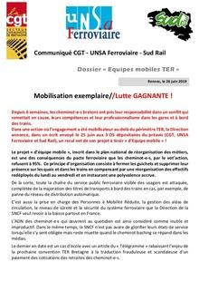 TER Bretagne : Mobilisation exemplaire / Lutte GAGNANTE !