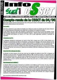 Axe TGV PSE : Compte rendu de la CSSCT du 04 juin 2020