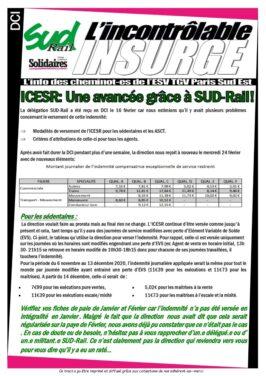 ICESR : SUD-Rail obtiens une avancée !