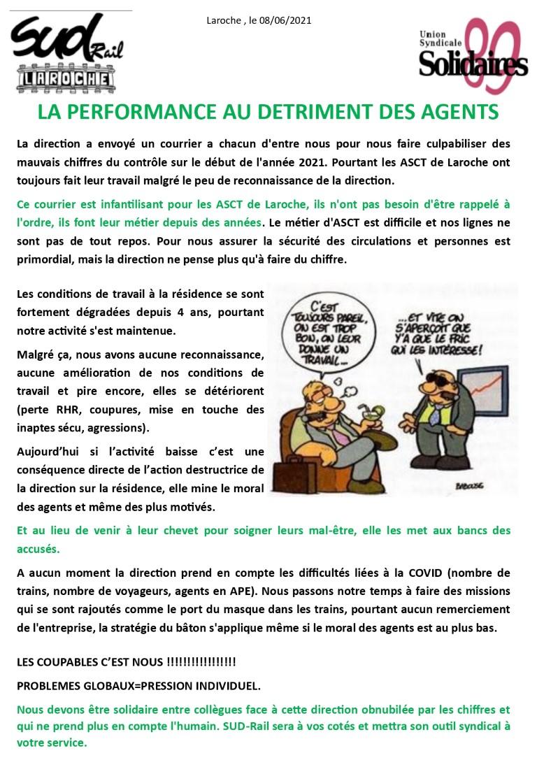 LA PERFORMANCE AU DETRIMENT DES AGENTS