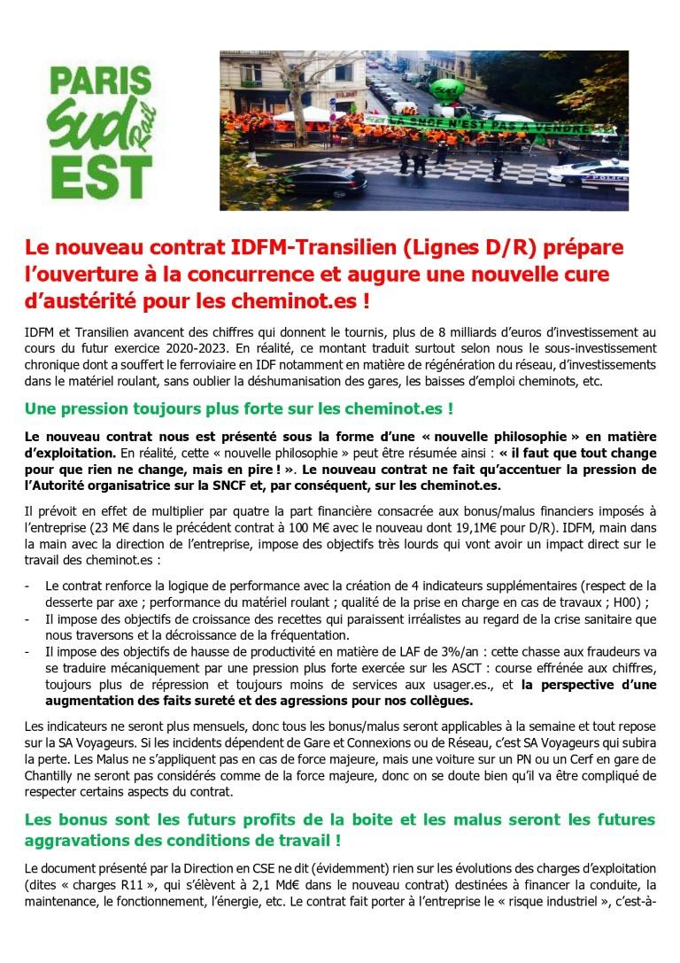Le nouveau contrat IDFM-Transilien (Lignes D/R) prépare l'ouverture à la concurrence et augure une nouvelle cure d'austérité pour les cheminot.es !