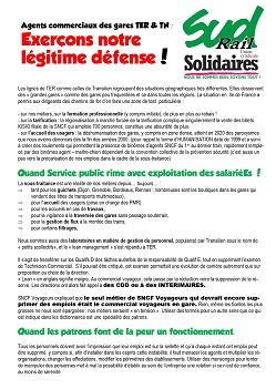 Agents commerciaux TER & TN : exerçons notre légitime défense !
