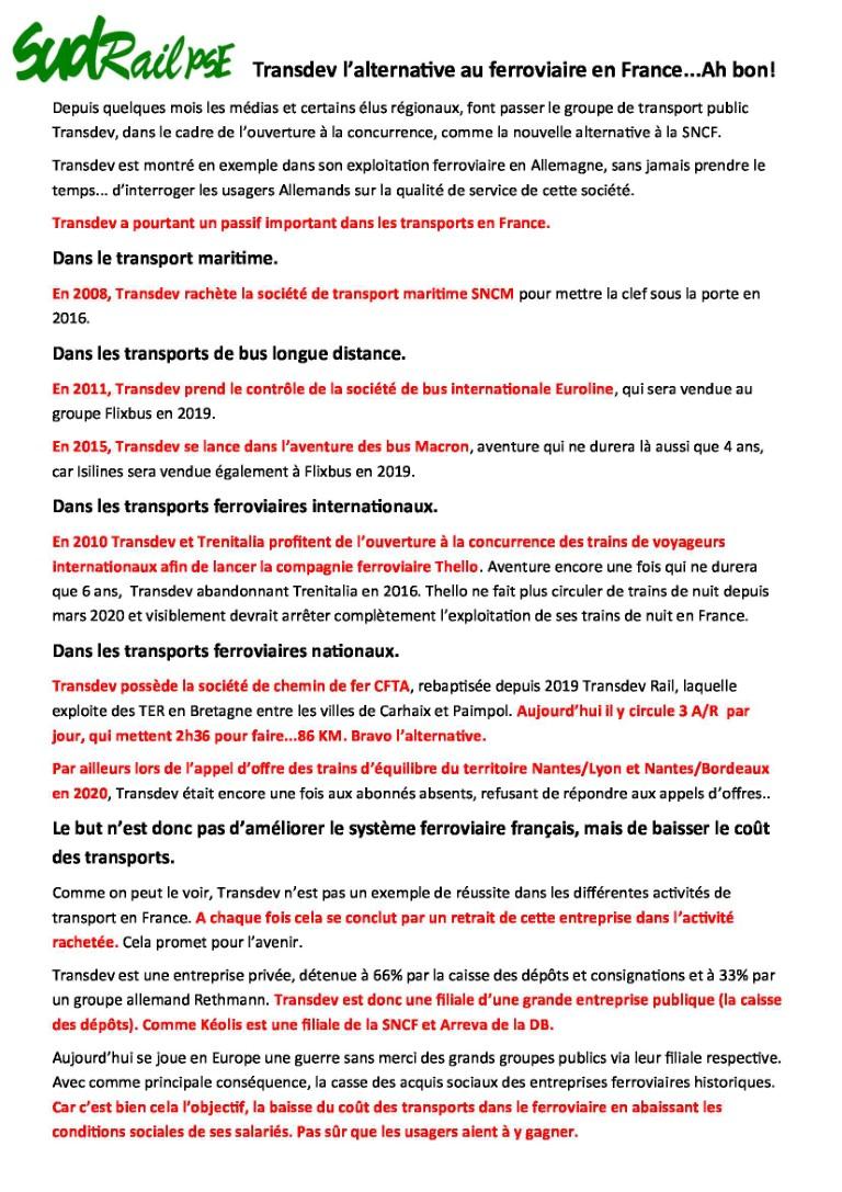 Transdev l'alternative au ferroviaire en France…Ah bon!