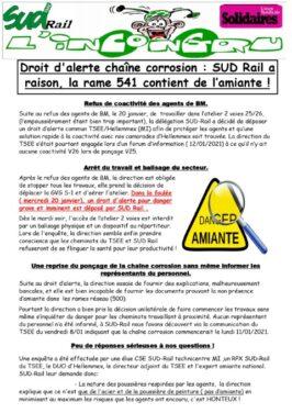 L'incongru. Droit d'alerte corrosion : SUD-Rail a raison, la rame 541 contient de l'amiante !