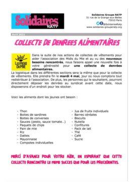SOLIDAIRES RATP : Collecte de denrées alimentaires