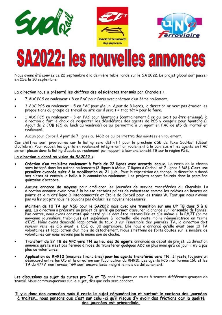 SA 2022 : les nouvelles annonces