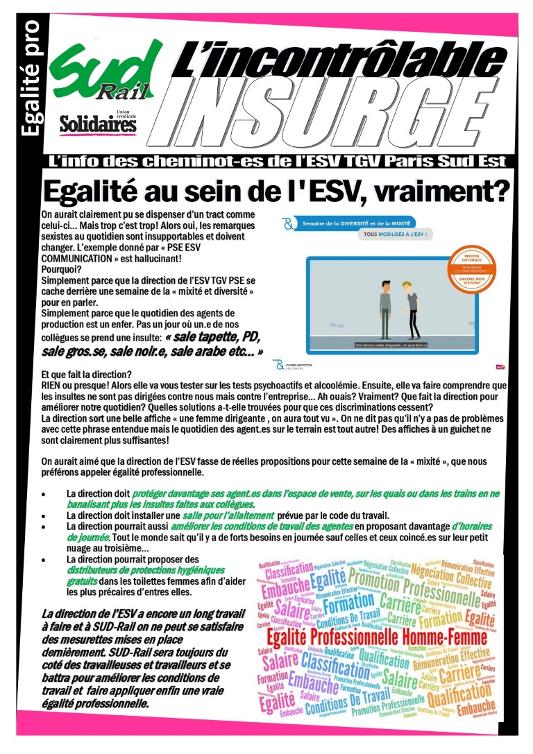 Egalité au sein de l'ESV, vraiment ?