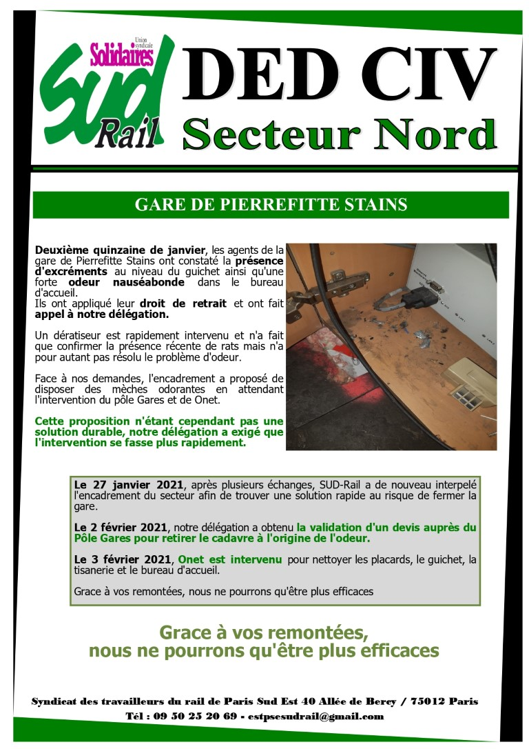 Gare de pierrefite-Stains : Droit de retrait et intervention de SUD-Rail