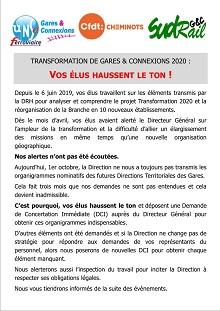 Transformation de Gares & Connexions 2020 : Vos élus haussent le ton !