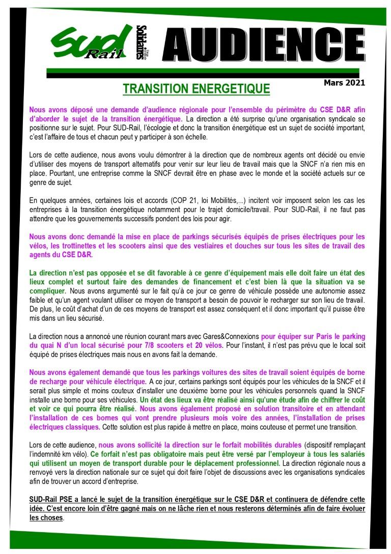 SUD-Rail PSE demande une Audience sur la transition énergétique.