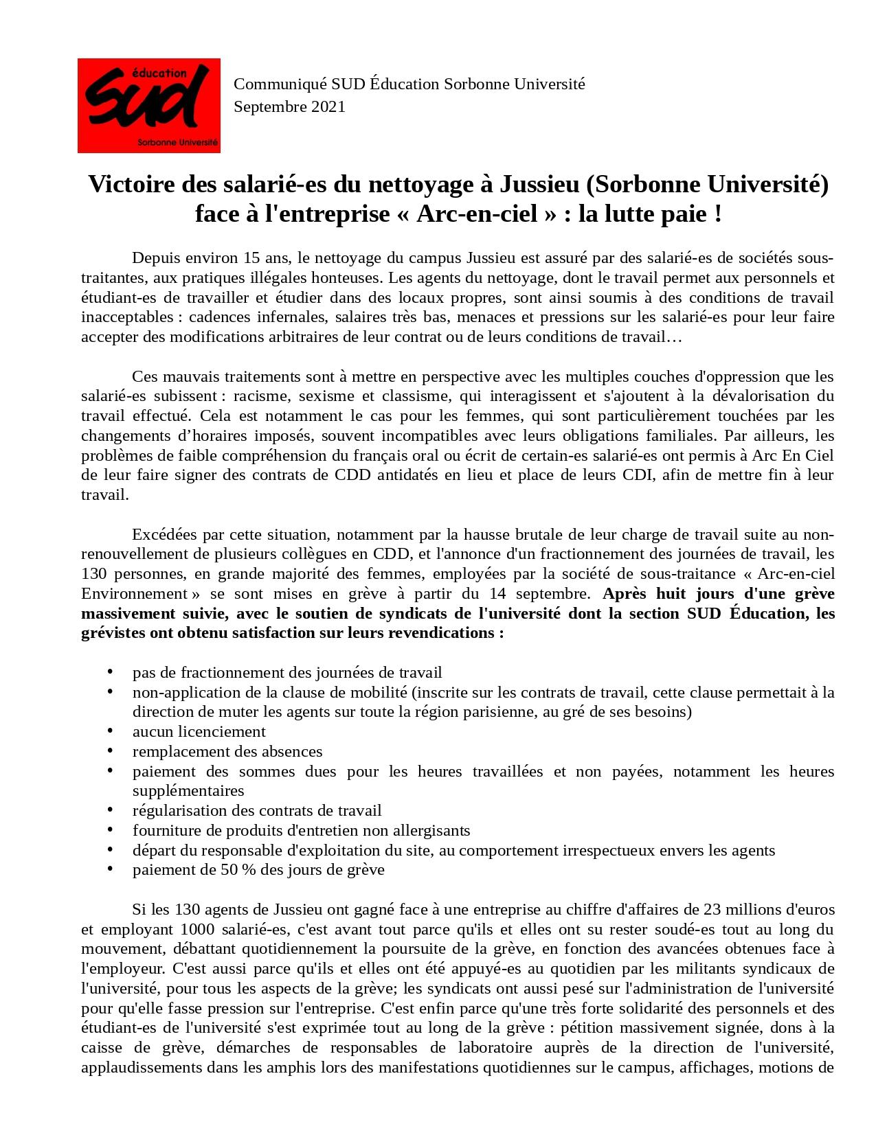 Victoire des salarié-es du nettoyage à Jussieu (Sorbonne Université) face à l'entreprise « Arc-en-ciel » : la lutte paie !